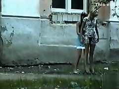 Teen blonde in a dress pees in public on Watchteencam.com