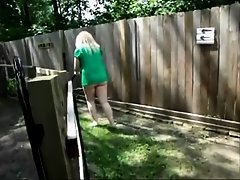 Mature neighbor trims the yard with no undies on on Watchteencam.com