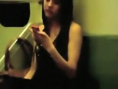 Charming Asian girls hook up in the train on Watchteencam.com
