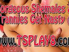 Big boobs shemale masturbates her big cock on the bed on Watchteencam.com
